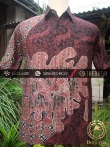 Kemeja Batik Seragam Motif Ikan Merah Kombinasi