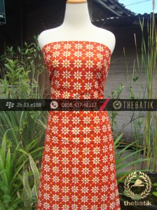 Kain Batik Cap Jogja Motif Kembang Tanjung Jingga
