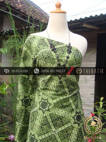 Kain Batik Cap Tulis Jogja Motif Ceplok Kasatriyan Kelir Hijau