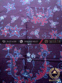 Kain Batik Tulis Jogja Motif Buketan Biru Kontemporer