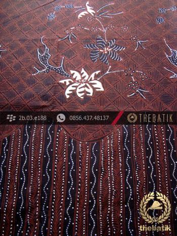 Kain Batik Tulis Jogja Motif Buketan Tulis Latar Hitam