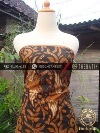 Kain Batik Cap Solo Motif Peksi Latar Hitam