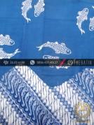 Kain Batik Cap Jogja Motif Ikan Kombinasi Parang Biru