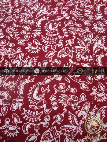 Kain Batik Cap Yogya Motif Burung Kecil Marun Kelengan