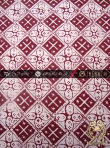 Kain Batik Cap Jogja Motif Kawung Kotak Kelengan Marun