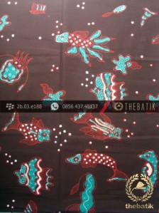 Kain Batik Tulis Yogyakarta Motif Ikan Hijau Latar Coklat