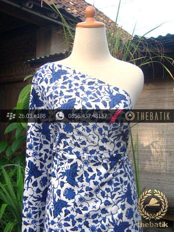 Kain Batik Cap Yogyakarta Motif Burung Biru Latar Putih
