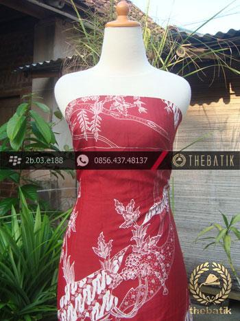 Batik Tulis Sutera Motif Burung Bangau Merah Kelengan
