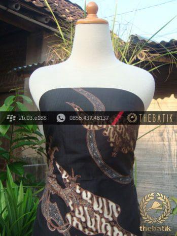 Batik Tulis Sutera Motif Burung Bangau Coklat Latar Hitam