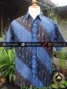 Kemeja Batik Seragam Motif Parang Kontemporer Biru-4