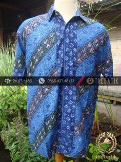 Kemeja Batik Seragam Motif Parang Kontemporer Biru-6