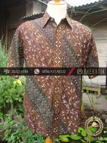 Kemeja Batik Seragam Motif Parang Kontemporer Coklat