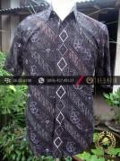 Kemeja Batik Seragam Motif Kontemporer Biru Dongker