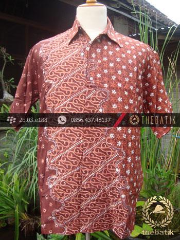 Kemeja Batik Seragam Motif Parang Kontemporer Jingga-1