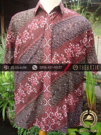 Kemeja Batik Seragam Motif Parang Kontemporer Merah-2