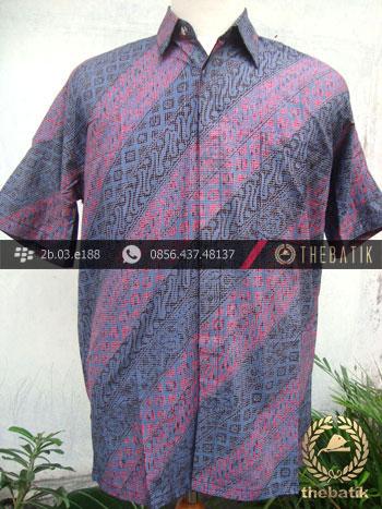 Kemeja Batik Seragam Motif Parang Kontemporer Ungu Biru