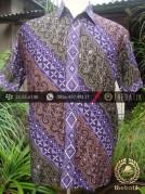 Kemeja Batik Seragam Motif Parang Kontemporer Ungu Merah