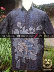Kemeja Batik Seragam Motif Semar Biru Kombinasi