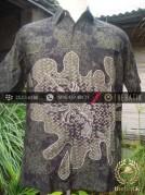 Kemeja Batik Seragam Motif Udang Hijau Latar Hitam