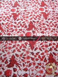 Kain Batik Cap Yogyakarta Motif Burung Merah Latar Putih