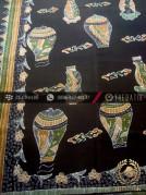 Kain Batik Tulis Cirebon Motif Guci Oriental Latar Hitam
