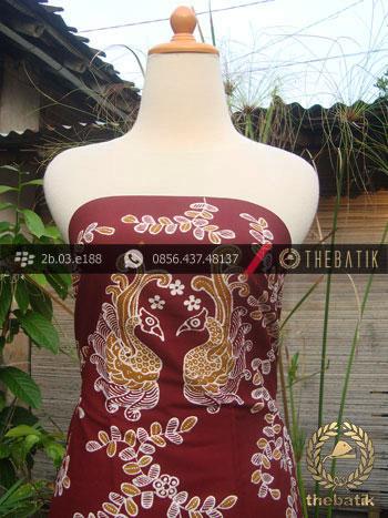 Kain Batik Tulis Yogyakarta Motif Angsa Kembar Marun