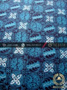 Kain Batik Cap Tulis Jogja Motif Kawung Kontemporer Biru