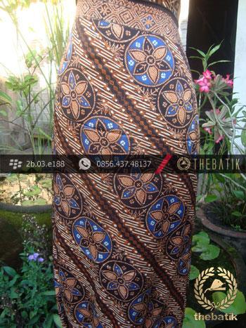 Batik Cap Sutera Jogja Motif Parang Klithik Seling Kembang