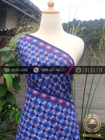 Kain Batik Cap Tulis Jogja Motif Kotak Biru