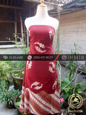 Kain Batik Cap Jogja Motif Ikan Seling Parang Merah | THEBATIK.co.id