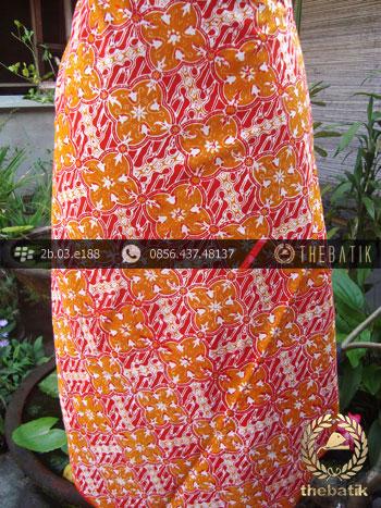 Kain Batik Cap Jogja Motif Ceplok Klithik Jingga
