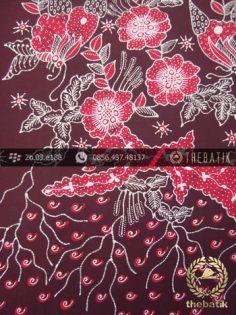 Kain Batik Tulis Jogja Motif Buketan Kupu Kupu Merah