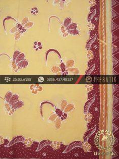 Kain Batik Tulis Kumpeni Cirebon Motif Capung Kuning Pastel