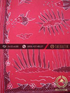 Kain Batik Tulis Kumpeni Cirebon Motif Ikan Merah
