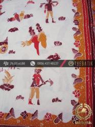 Kain Batik Tulis Kumpeni Cirebon Motif Petani Latar Putih