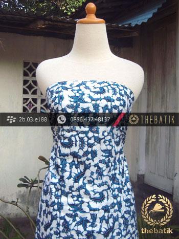 Kain Batik Cap Jogja Motif Ceplok Burung Biru Muda