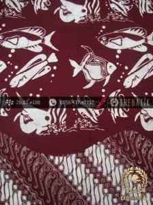 Kain Batik Cap Jogja Motif Ikan Seling Parang Marun
