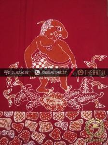Kain Batik Tulis Jogja Motif Punakawan Gareng Merah