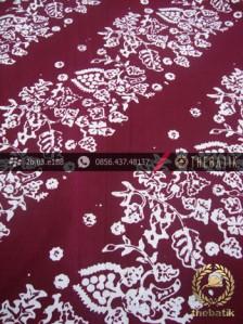 Kain Batik Cap Kelengan Motif Daun Anggur Marun