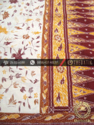 Sarung Batik Tulis Cirebon Motif Buketan Putih Kuning