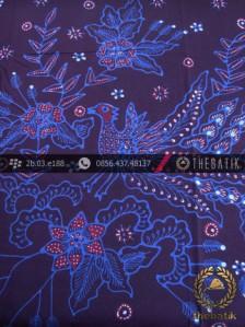 Batik Tulis Jogja Motif Buketan Burung Latar Biru
