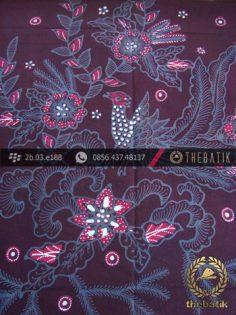Batik Tulis Jogja Motif Buketan Burung Latar Ungu