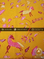 Batik Tulis Cirebon Motif Kuda Pink Latar Kuning