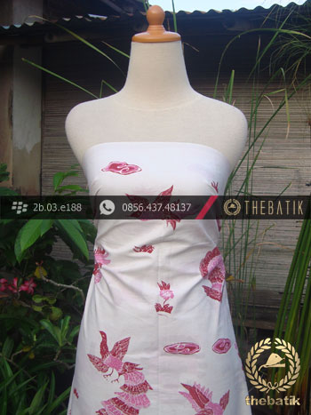 Batik Tulis Cirebon Motif Merak Pink Latar Putih