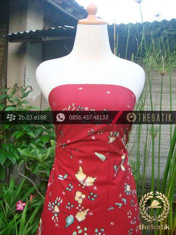 Batik Tulis Cirebon Motif Burung Latar Merah Hijau