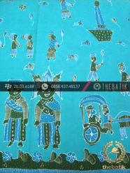 Batik Kumpeni Tulis Motif Kampung Betawi Hijau Toska