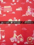 Batik Kumpeni Tulis Motif Pasar Cirebon Latar Merah