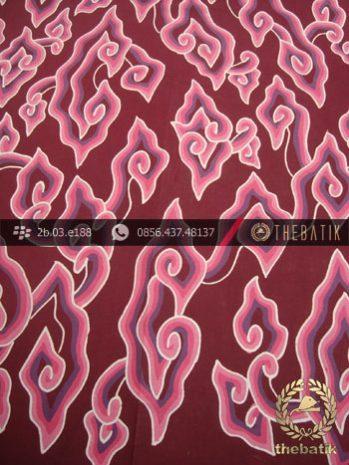 Batik Tulis Cirebon Motif Megamendung Pink Latar Marun