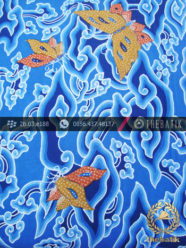 Batik Tulis Cirebon Motif Megamendung Kupu Biru