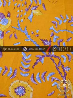 Batik Tulis Cirebon Motif Buketan Burung Kuning
